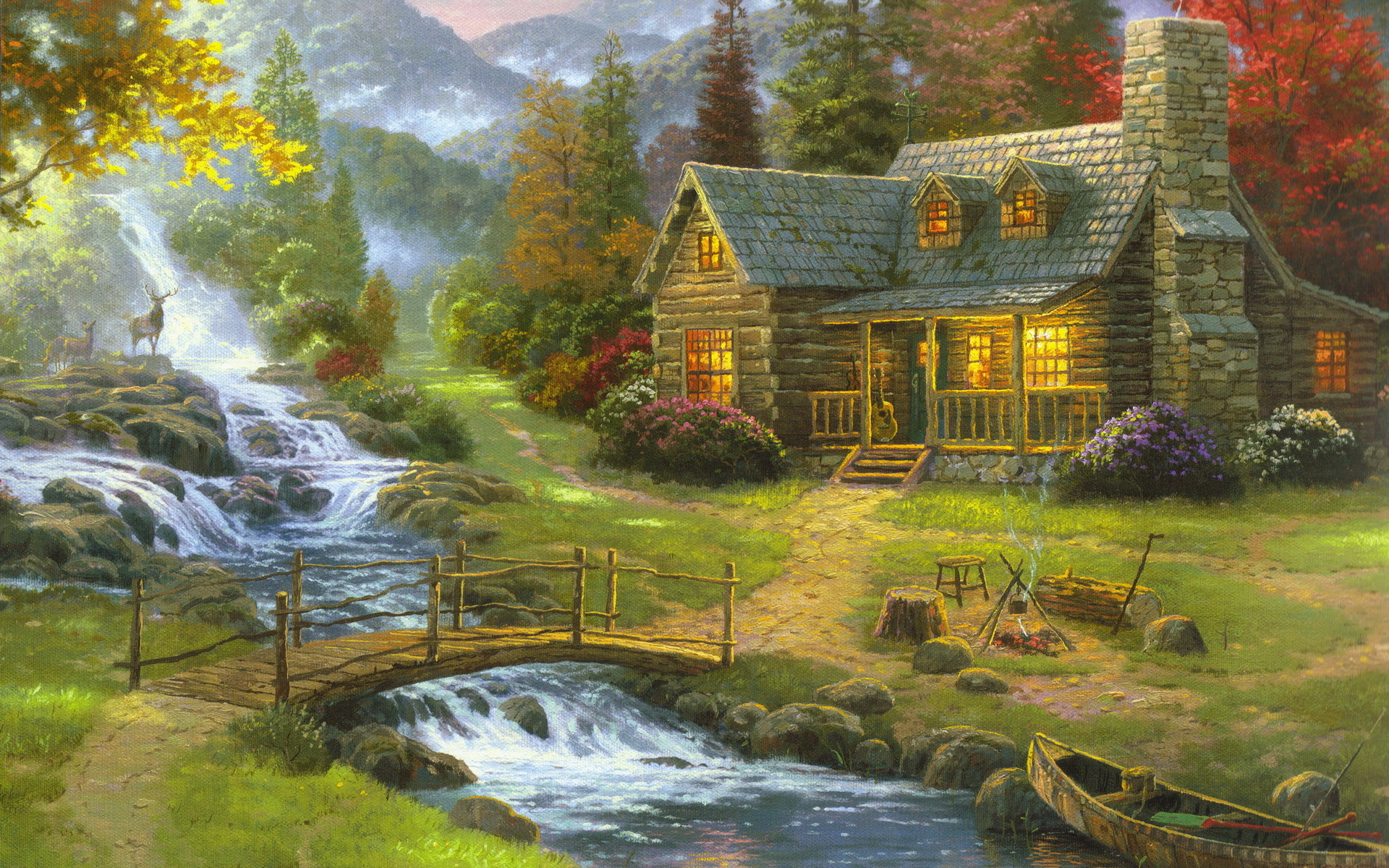 Thomas kinkade wallpapers awesome wallpapers for Oil paintings for the home