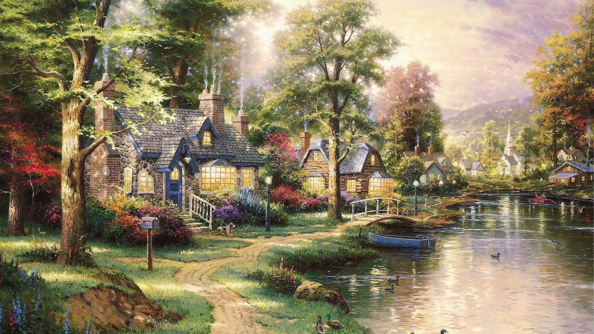 Thomas kinkade awesome wallpapers for Oil paintings for the home