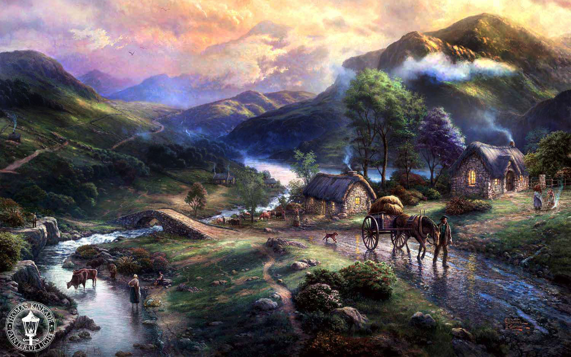 Thomas kinkade wallpapers awesome wallpapers - Art village wallpaper ...