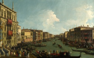 Full title: Venice: A Regatta on the Grand Canal Artist: Canaletto Date made: about 1735 Source: http://www.nationalgalleryimages.co.uk/ Contact: picture.library@nationalgallery.co.uk Copyright (C) The National Gallery, London