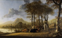 Full title: River Landscape with Horseman and Peasants Artist: Aelbert Cuyp Date made: about 1658-60 Source: http://www.nationalgalleryimages.co.uk/ Contact: picture.library@nationalgallery.co.uk Copyright (C) The National Gallery, London