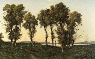 Full title: Autumn Evening Artist: Henri-Joseph Harpignies Date made: 1894 Source: http://www.nationalgalleryimages.co.uk/ Contact: picture.library@nationalgallery.co.uk Copyright (C) The National Gallery, London