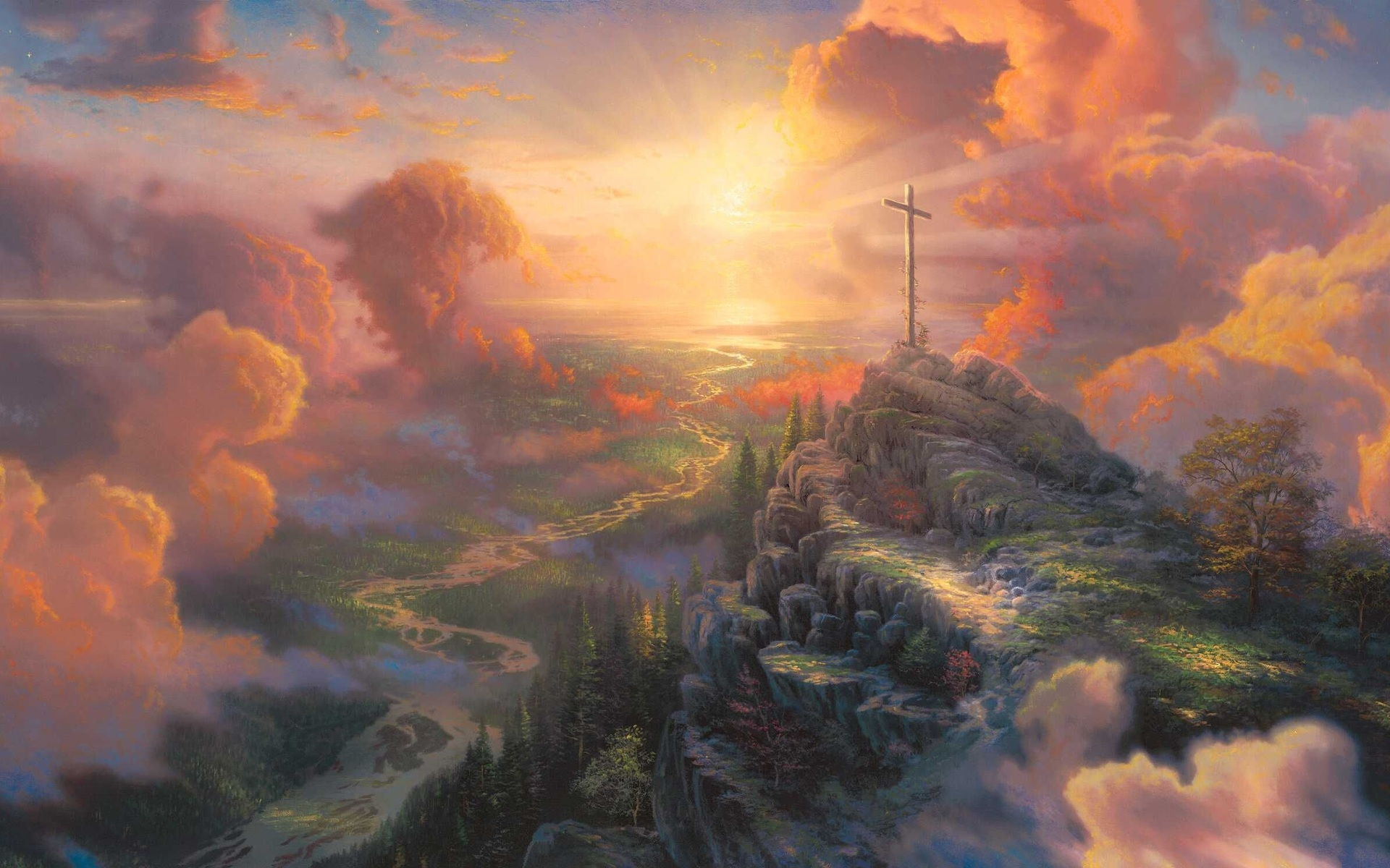 Art wallpaper set 14 thomas kinkade paintings 3 for Cross paintings on canvas
