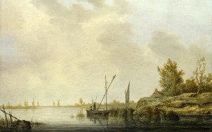 Full title: A River Scene with Distant Windmills Artist: Aelbert Cuyp Date made: about 1640-2 Source: http://www.nationalgalleryimages.co.uk/ Contact: picture.library@nationalgallery.co.uk Copyright (C) The National Gallery, London