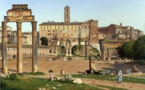 Full title: View of the Forum in Rome Artist: Christoffer Wilhelm Eckersberg Date made: 1814 Source: http://www.nationalgalleryimages.co.uk/ Contact: picture.library@nationalgallery.co.uk Copyright (C) The National Gallery, London