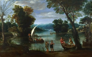 Full title: Landscape with a River and Boats Artist: Giovanni Battista Viola Date made: early 17th century Source: http://www.nationalgalleryimages.co.uk/ Contact: picture.library@nationalgallery.co.uk Copyright (C) The National Gallery, London