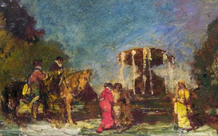 Full title: Fountain in a Park Artist: Adolphe Monticelli Date made: about 1875-80 Source: http://www.nationalgalleryimages.co.uk/ Contact: picture.library@nationalgallery.co.uk Copyright (C) The National Gallery, London