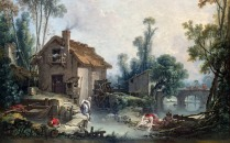 Full title: Landscape with a Watermill Artist: Fran?ois Boucher Date made: 1755 Source: http://www.nationalgalleryimages.co.uk/ Contact: picture.library@nationalgallery.co.uk Copyright (C) The National Gallery, London