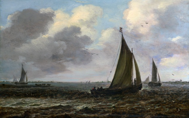 Full title: Sailing Vessels on a River in a Breeze Artist: Imitator of Jan van Goyen Date made: 1650s Source: http://www.nationalgalleryimages.co.uk/ Contact: picture.library@nationalgallery.co.uk Copyright (C) The National Gallery, London