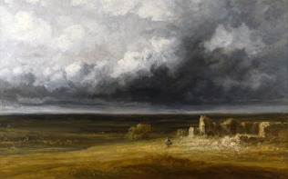 Full title: Stormy Landscape with Ruins on a Plain Artist: Georges Michel Date made: after 1830 Source: http://www.nationalgalleryimages.co.uk/ Contact: picture.library@nationalgallery.co.uk Copyright (C) The National Gallery, London