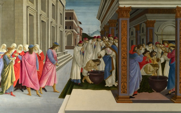 Full title: Four Scenes from the Early Life of Saint Zenobius Artist: Sandro Botticelli Date made: about 1500 Source: http://www.nationalgalleryimages.co.uk/ Contact: picture.library@nationalgallery.co.uk Copyright (C) The National Gallery, London