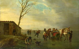 Full title: A Scene on the Ice Artist: Andries Vermeulen Date made: about 1800 Source: http://www.nationalgalleryimages.co.uk/ Contact: picture.library@nationalgallery.co.uk Copyright (C) The National Gallery, London