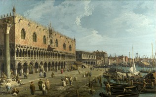 Full title: Venice: The Doge's Palace and the Riva degli Schiavoni Artist: Canaletto Date made: late 1730s Source: http://www.nationalgalleryimages.co.uk/ Contact: picture.library@nationalgallery.co.uk Copyright (C) The National Gallery, London