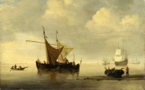 Full title: Calm: Two Dutch Vessels Artist: Studio of Willem van de Velde Date made: probably after 1670 Source: http://www.nationalgalleryimages.co.uk/ Contact: picture.library@nationalgallery.co.uk Copyright (C) The National Gallery, London
