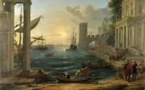 Full title: Seaport with the Embarkation of the Queen of Sheba Artist: Claude Date made: 1648 Source: http://www.nationalgalleryimages.co.uk/ Contact: picture.library@nationalgallery.co.uk Copyright (C) The National Gallery, London