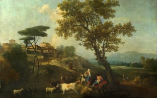 Full title: Landscape with Cattle and Figures Artist: Francesco Zuccarelli Date made: about 1750-70 Source: http://www.nationalgalleryimages.co.uk/ Contact: picture.library@nationalgallery.co.uk Copyright (C) The National Gallery, London