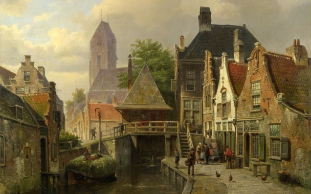 Full title: View of Oudewater Artist: Willem Koekkoek Date made: about 1867 Source: http://www.nationalgalleryimages.co.uk/ Contact: picture.library@nationalgallery.co.uk Copyright (C) The National Gallery, London