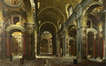 Full title: Rome: The Interior of St Peter's Artist: Giovanni Paolo Panini Date made: before 1742 Source: http://www.nationalgalleryimages.co.uk/ Contact: picture.library@nationalgallery.co.uk Copyright (C) The National Gallery, London