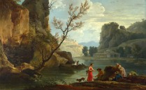 Full title: A River with Fishermen Artist: Claude-Joseph Vernet Date made: 1751 Source: http://www.nationalgalleryimages.co.uk/ Contact: picture.library@nationalgallery.co.uk Copyright (C) The National Gallery, London