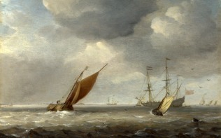 Full title: Small Dutch Vessels in a Breeze Artist: Studio of Willem van de Velde Date made: after 1660 Source: http://www.nationalgalleryimages.co.uk/ Contact: picture.library@nationalgallery.co.uk Copyright (C) The National Gallery, London